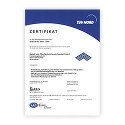 Qualitätsmanagementsystem zertifiziert nach DIN EN ISO 9001